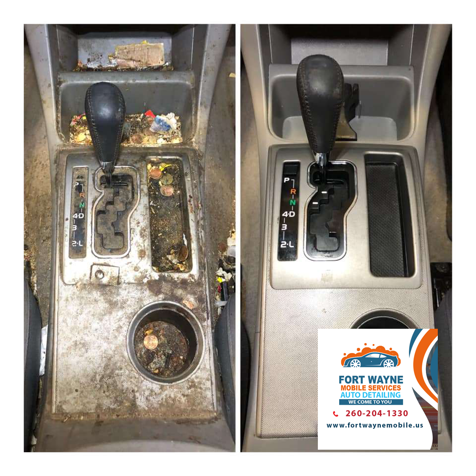 Car Detailing Center Console clean before and after