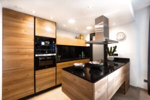 Stylish Kitchen With Glass Splashbacks